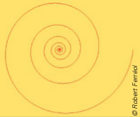 Spirale logarithmique ou loxodromie sur une carte obtenue par projection stéréographique. Cette courbe fait un angle constant avec les rayons.