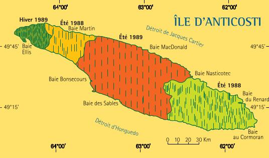 Emplacement des 301 parcelles d'inventaire aérien survolées à l'île d'Anticosti, à l'été 1988, à l'hiver 1989 et à l'été 1989 pour estimer la population totale de cerfs.