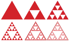 Figure 6 : Construction du tamis (ou triangle) de Sierpinski.