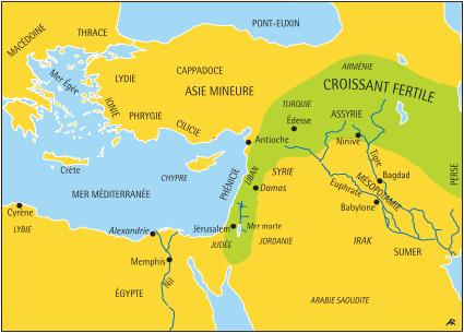 Carte du Proche-Orient, le Croissant fertile (noms modernes en italique)
