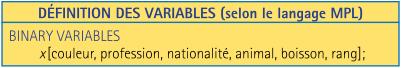 Dans un logiciel spécialisé tel MPL, (Mathematical Programming Language, de l'entreprise Maximal Software (www.maximalsoftware.com)), c'est ainsi qu'on écrit une variable.