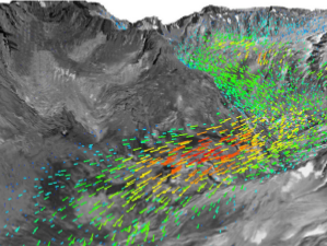 Champ de vitesse calculé du glacier du Rhône