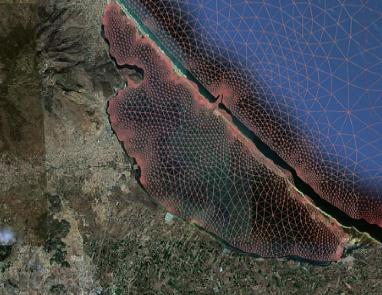 Maillage triangulaire de la lagune de Nador au maroc Source: travaux de Imad Elmahi, Université d'Oujda au Maroc.