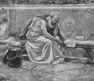 Dessin de Henri Girardet, paru dans la revue Le Magasin pittoresque 45 (1877) p. 301. D'après une peinture de Gustave Courtois (1852-1923) représentant Archimède (détail).