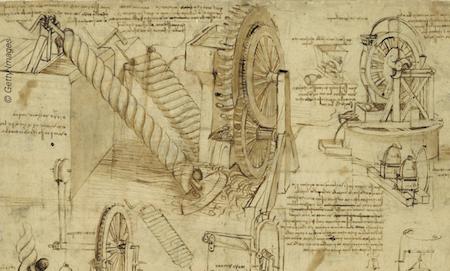 llustration (détail) de Léonard de Vinci (1452-1519) tirée du Codex Atlanticus, folio 26v (v. 1480-1482). On y voit diverses machines hydrauliques, dont la «vis d'Archimède» permettant l'élévation d'eau.