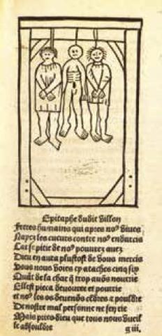 Gravure sur bois accompagnant L'Épitaphe Villon, poème aussi nomméBallade des pendus, et parue dans l'édition de 1489 due à Pierre Levet.