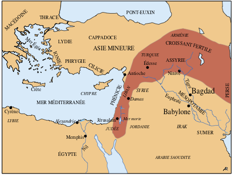 Le Proche-Orient au temps de l'Antiquité: Babylone et Bagdad (noms modernes en italiques)