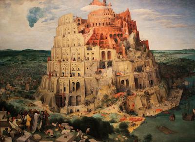 Brueghel (env. 1525/1530-1569), La Tour de Babel (env. 1563). Ce tableau (dit La «Grande» Tour de Babel), conservé au Kunsthistorisches Museum de Vienne, est l'un des trois que Brueghel a consacrés à la fameuse tour.