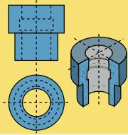 En géométrie descriptive, l'observateur est à l'infini. Pour l'objet simple représenté ici, deux plans de section perpendiculaires entre eux, l'un en plongée et l'autre de face, suffisent pour donner toutes les dimensions utiles. En général, le nombre de plans de projection, pour conserver toutes les dimensions, dépend de la complexité de l'objet tridimensionnel.