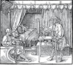 Dürer, Le dessinateur de l'homme assis Dans cette illustration du principe de la perspective, le peintre reporte sur l'écran transparent les points de rencontre des droites allant de son oeil aux différents points de la scène.